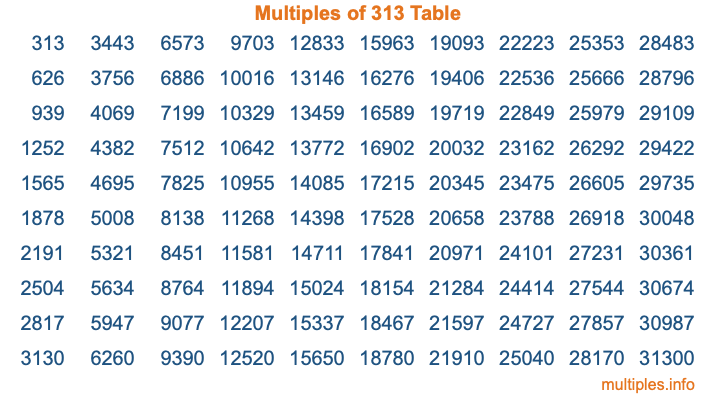 Multiples of 313 Table